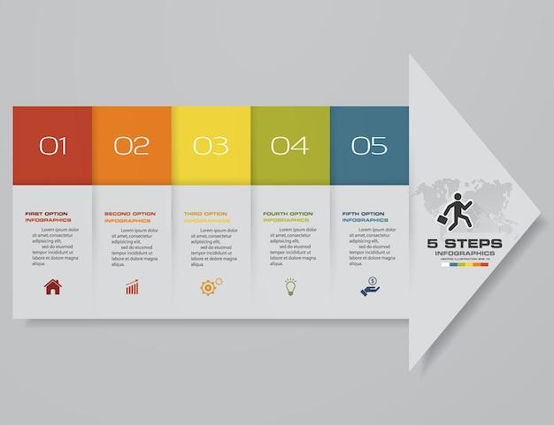 5 шагов стрелка шаблон диаграммы для презентации.