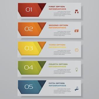 プレゼンテーションのための5つのステップのオプションバナー。