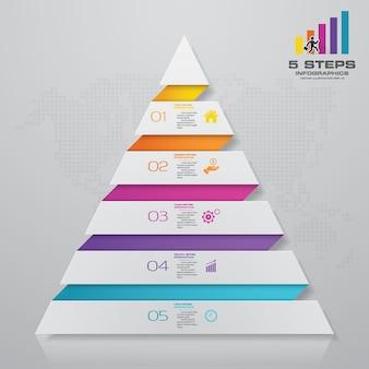 5段階のピラミッドに各レベルのテキスト用の空きスペースがあります。