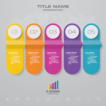 5ステップタイムラインインフォグラフィック要素。