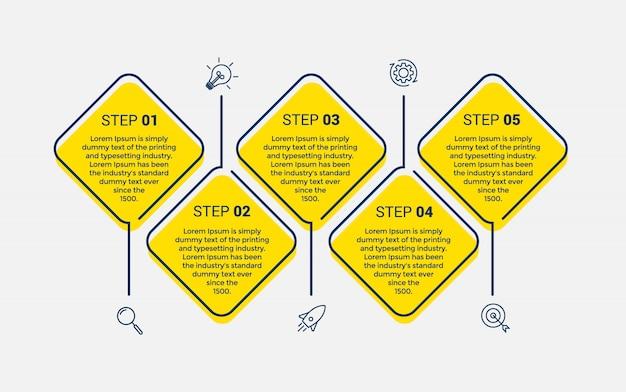 5つのオプションまたは手順を持つベクトルインフォグラフィックデザインテンプレート