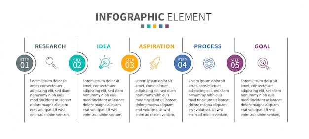 Инфографики шаблон с иконками и 5 вариантов или шагов