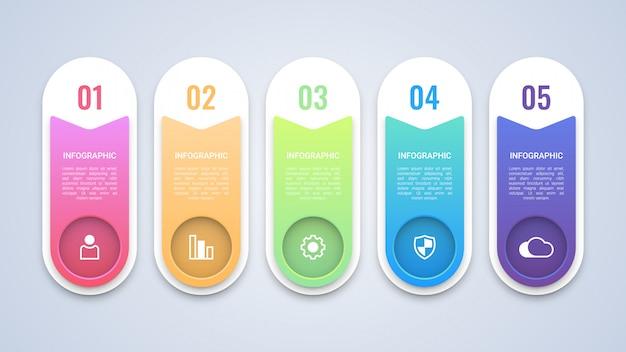 モダンな5つのステップビジネスインフォグラフィックテンプレート