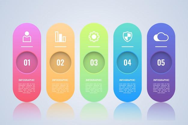 シンプルな5つのステップのインフォグラフィックテンプレート