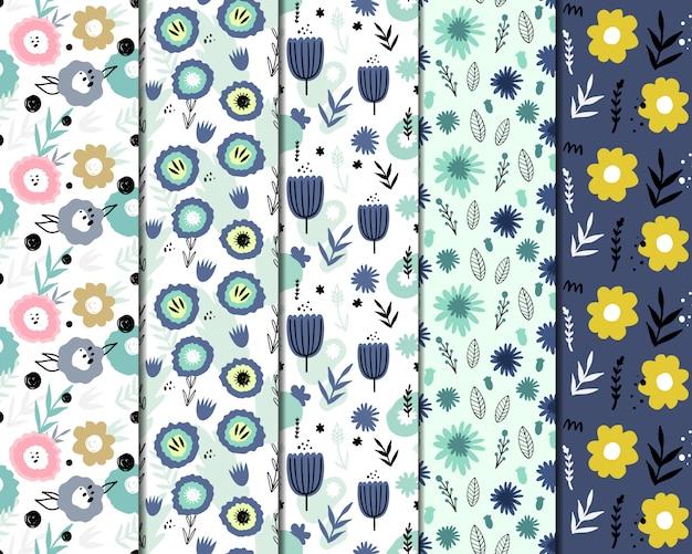 抽象的な花と5つのシームレスなパターンのセット。手描き、落書きスタイル。