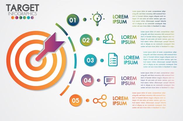 ターゲットインフォグラフィック5ステップまたはオプションビジネスデザインのベクトルと要素を持つマーケティング