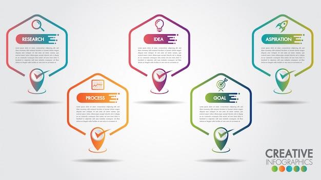 ビジネスインフォグラフィック六角形5ステップまたはオプション。コピースペースとビジネスのタイムライン