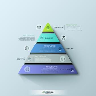 モダンなインフォグラフィックデザインテンプレート、5つの番号付きレイヤーまたはレベルを持つ三角グラフ