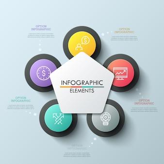 Цветочная схема лепестка с 5 вариантами. тонкая линия иконки внутри пяти круглых элементов, расположенных вокруг белого пятиугольника в центре. креативная инфографика дизайн макета.