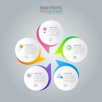 Бизнес-концепция инфографического дизайна с 5 вариантами.