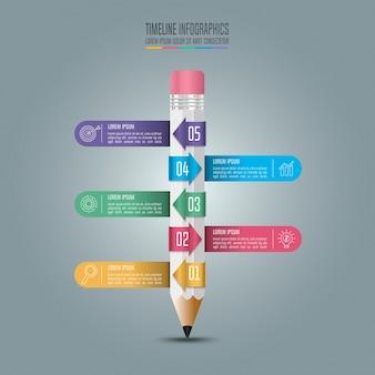 Шаблон для образовательных инфографик 5-ступенчатый вариант.