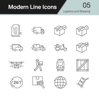 物流と配送のアイコン。現代のラインデザインセット5。
