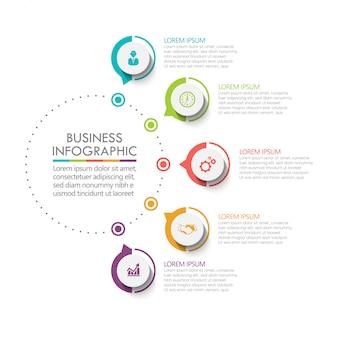 5つのオプションを持つプレゼンテーションビジネスサークルインフォグラフィックテンプレート。