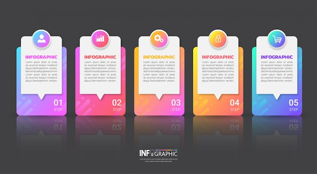 5つのステップインフォグラフィックテンプレート