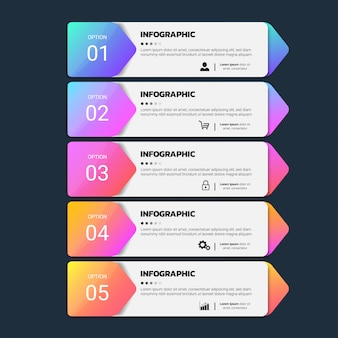 モダンビジネスインフォグラフィック5ステップ
