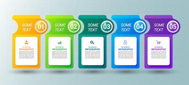 5つのステップのタイムラインインフォグラフィックデザインテンプレート。
