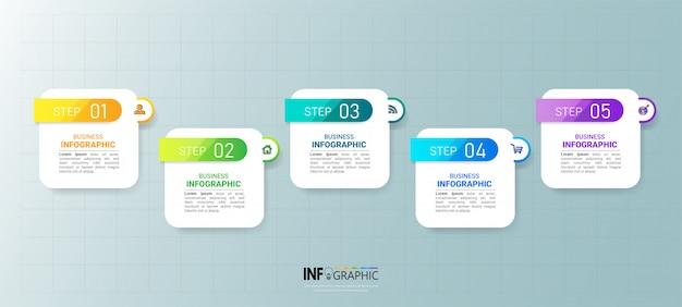5つのステップのタイムラインインフォグラフィックデザイン