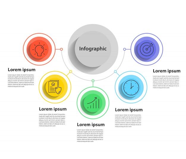 5ステップのプレゼンテーションとインフォグラフィック、線形円とインフォグラフィック