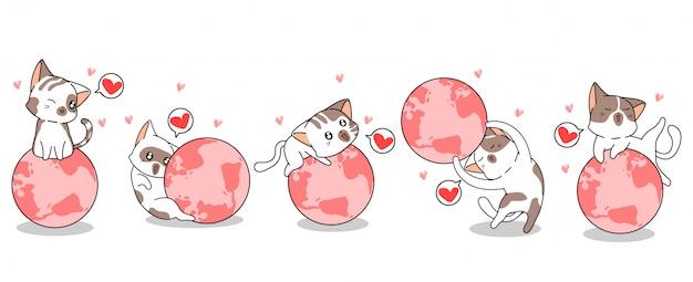 5種類の猫のキャラクターが世界を愛しています