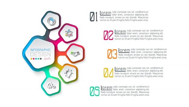 Пентагоны лейбл инфографики с 5 шагов.