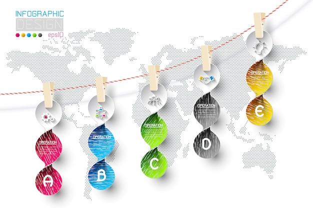 物干し用ロープにぶら下がっている5つのステップを持つビジネスインフォグラフィック。