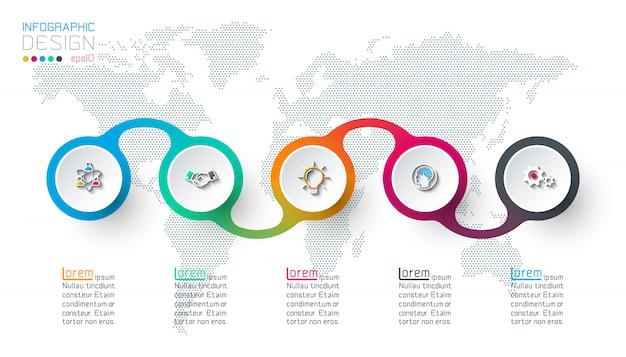 5つのステップを持つサークルラベルインフォグラフィック。