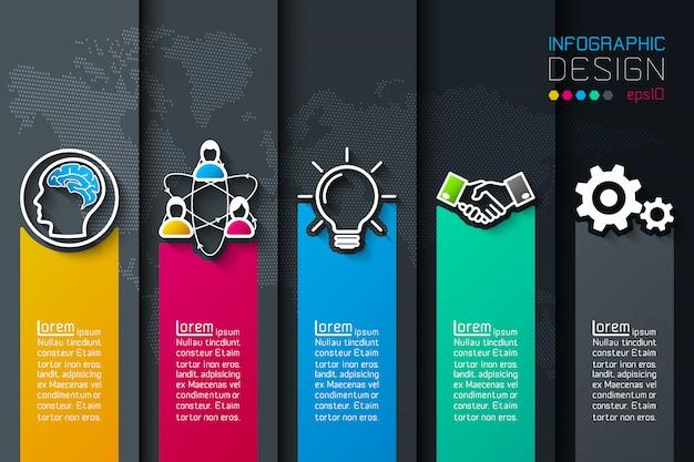 ビジネスアイコンインフォグラフィックを持つ5つのラベル。