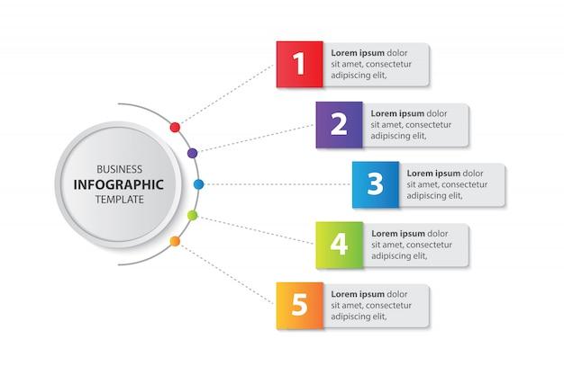 Презентация бизнес инфографики шаблон с 5 шагов вектора