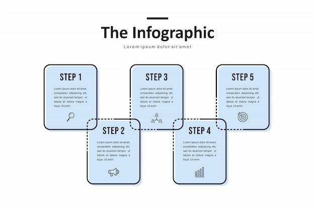Шаблон бизнес инфографики, тонкая линия и плоский дизайн с 5 вариант или шаг