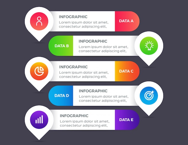 5つのオプションデータを持つインフォグラフィック要素