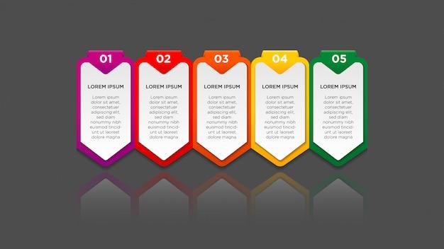 グラデーションと紙の影のインフォグラフィック5オプションまたは手順。インフォグラフィックビジネスコンセプト。