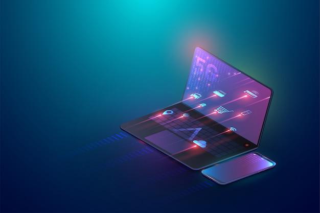ノートパソコンと5gワイヤレスタブレットを接続する3 dアイソメトリックコンセプト
