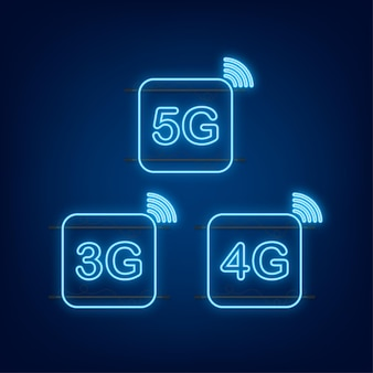 5g, 4g, 3g neon symbol set isolated on background, mobile communication technology and smartphone network. vector stock illustration.