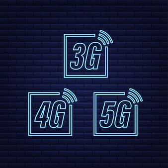 5g 4g 3g neon symbol set isolated on background mobile communication technology