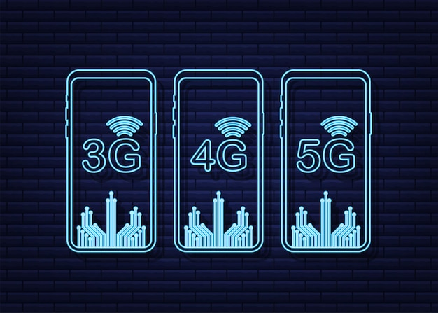 背景のモバイル通信技術で分離された5g4g3gネオンシンボルセット