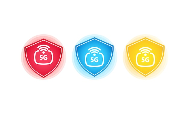 5g, 4g, 3g, vector icon set. new mobile communication technology and smartphone network icons