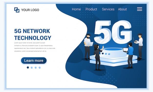 5gネットワークテクノロジーのコンセプト。新しいインターネットシステムの電気通信サービス。高速ワイヤレス接続5gを使用するキャラクター。