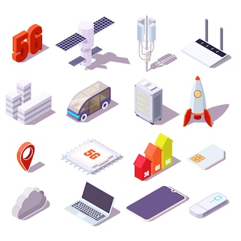 5g cellular network isometric icon set, flat vector isolated illustration. satellite, communication tower, data center, router, smartphone, laptop computer, car, rocket. wireless high speed internet.