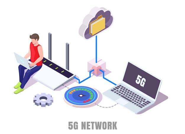 Сотовая сеть 5g. человек, работающий на ноутбуке, передача данных, тестирование нового высокоскоростного интернета, сидя на маршрутизаторе, плоские векторные изометрические иллюстрации. 5g нового поколения беспроводной технологии.