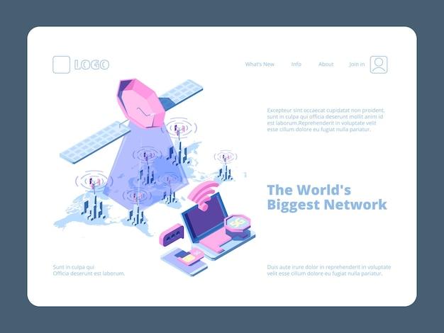 5г город. бизнес-целевая страница с умной телекоммуникационной беспроводной сетью городских волн 3d-зданиями.