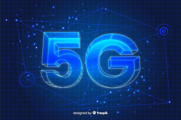5g concept in 3d background