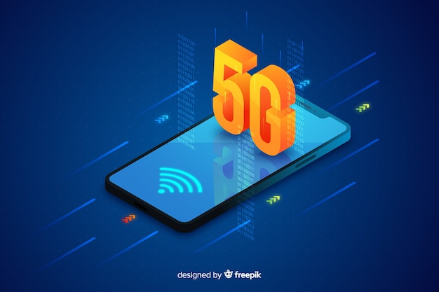 5g concept background isometric design