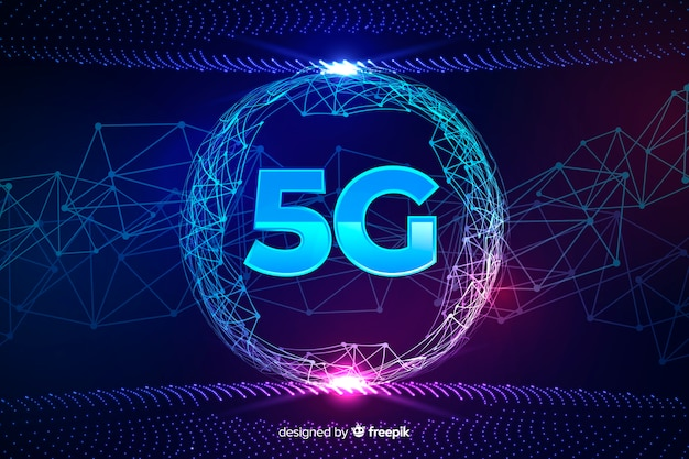 5g concept background in a rounded shape