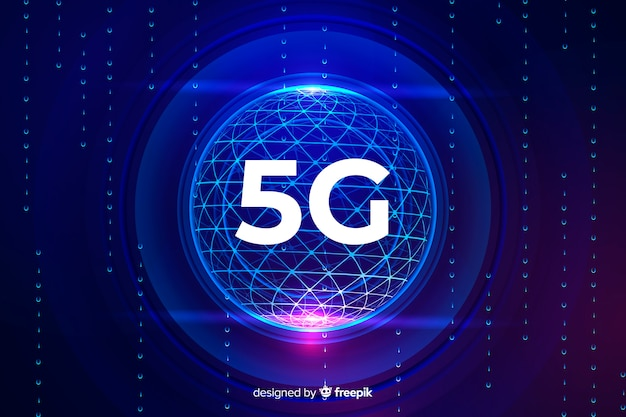 5g concept background in a technological sphere