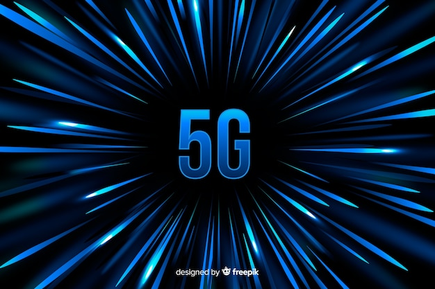 5g concept background with blue speed lines background