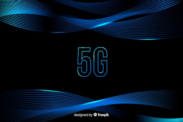 5g concept background with gradient curved lines