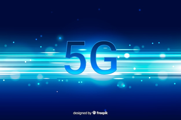 5g concept background with gradient horizontal lines