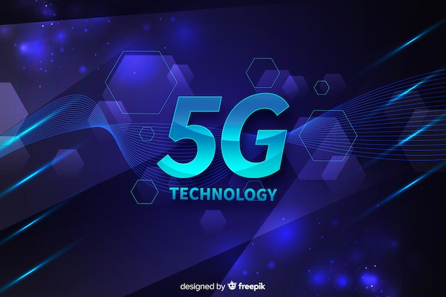 5g concept background with hexagons