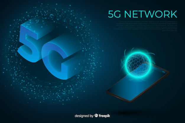 5g concept background with isometric design