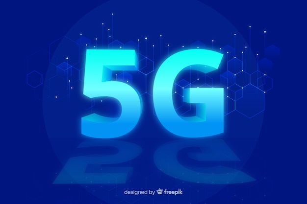 5g concept blue background